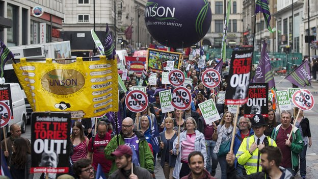 Public sector workers gather in Trafalgar Square in central London