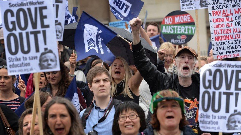 Public sector workers in Trafalgar Square, London