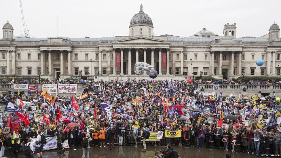 Crowds in London's Trafalgar Square