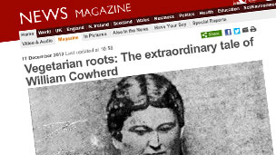 Screenshot of BBC News feature on the Reverend Cowherd and the Beefsteak Chapel