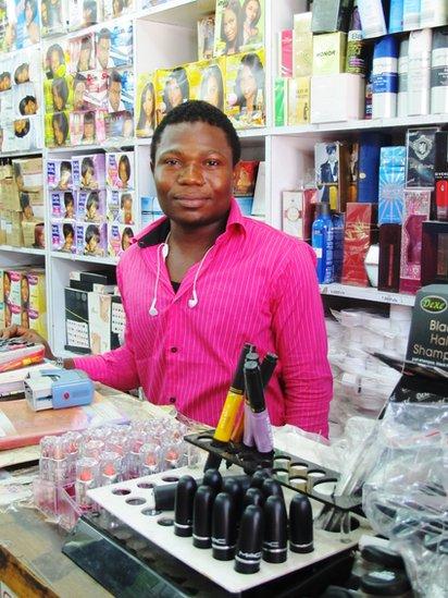Abdul Affiz Jewar in his cosmetics shop