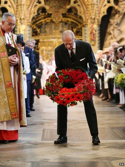 The Duke of Edinburgh laying a wreath at the dedication of a memorial stone at Westminster Abbey.