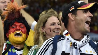 German supporters celebrating after the 2014 Fifa World Cup semi-final match between Brazil and Germany