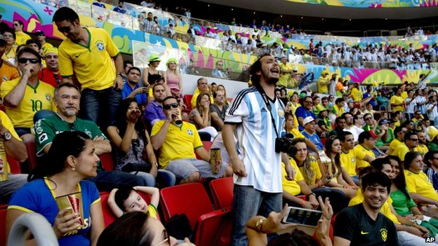 Argentine fan at quarter-final match against Belgium in Brasilia