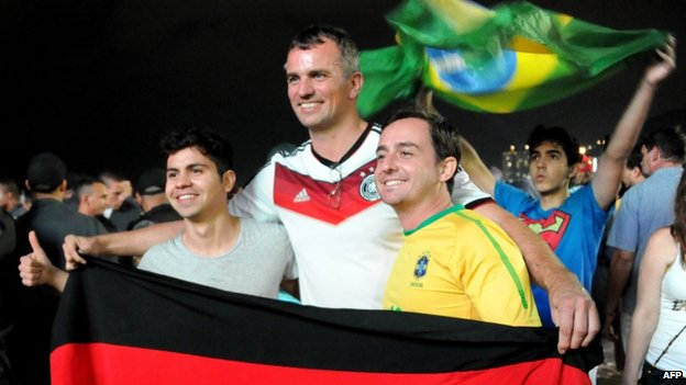 Brazilian and German fans in Rio