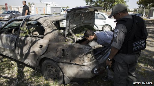 Car that was hit by a rocket from Gaza