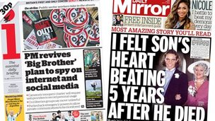 Composite image of front pages of the i and Daily Mirror
