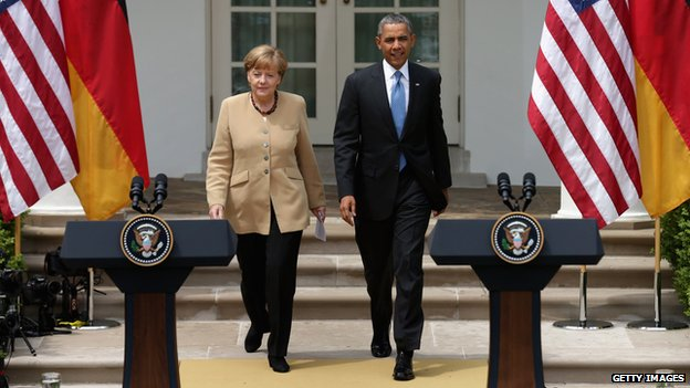 German Chancellor Angela Merkel (left) and US President Barack Obama (right) appeared in Washington on 2 May 2014