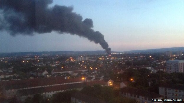 The fire pictured from Drumchapel