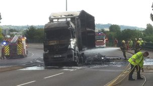 The burned-out lorry in Bristol