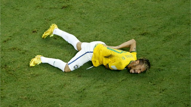 Neymar injured on the pitch