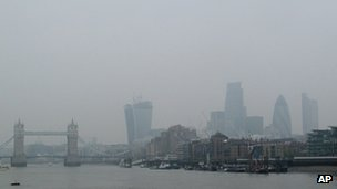London skyline shrouded in smog