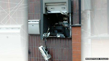Blown up cash machine