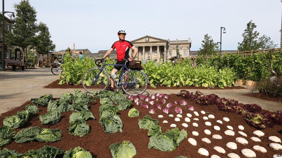 Maurice Legood from Dewsbury looks at La Vengeance Des Semi, a fully working farm, outside Huddersfield train station