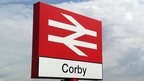 Rail sign for Corby