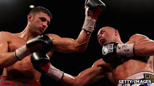 Tony Bellew and Nathan Cleverly in action during their fight in 2011
