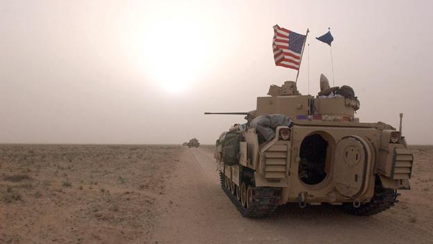 US tank on Kuwait/Iraq border, on the eve of the 2003 Iraq invasion