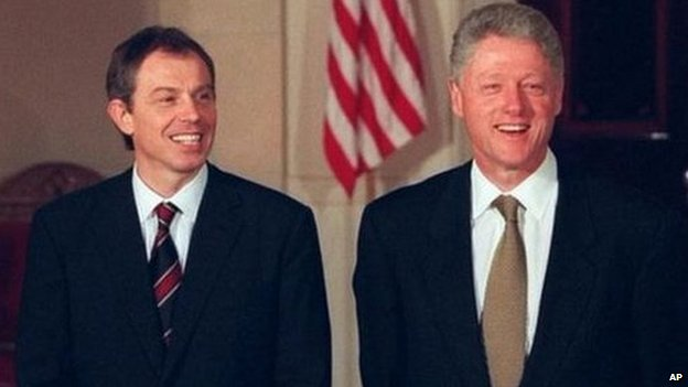 Tony Blair and Bill Clinton in 1998