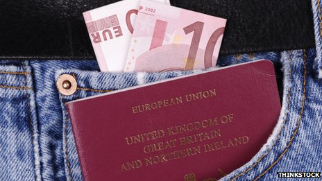 Passport in pocket with Euro notes