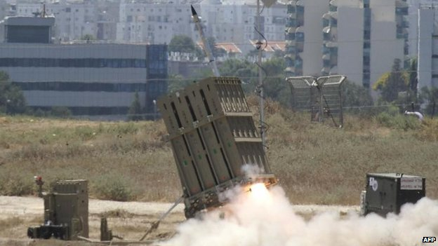 An Iron Dome missile is launched to counter rockets from Gaza, 11 July
