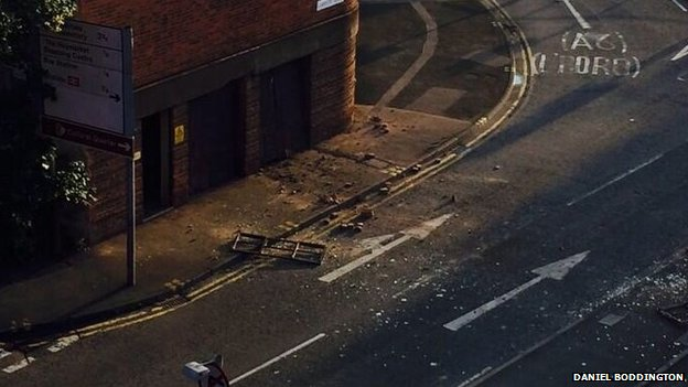 Debris on road after substation explosion