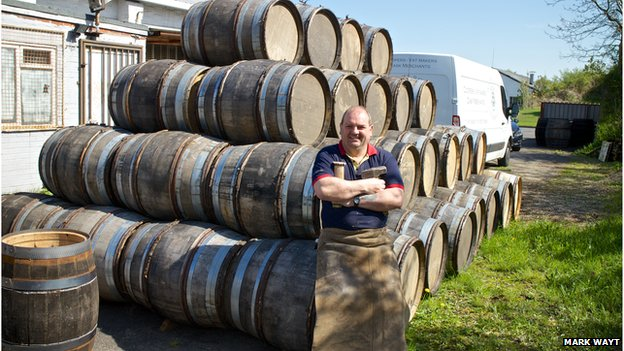 Alastair Simms with his beer barrels