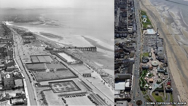 Rhyl seafront, in 1949 and 2007