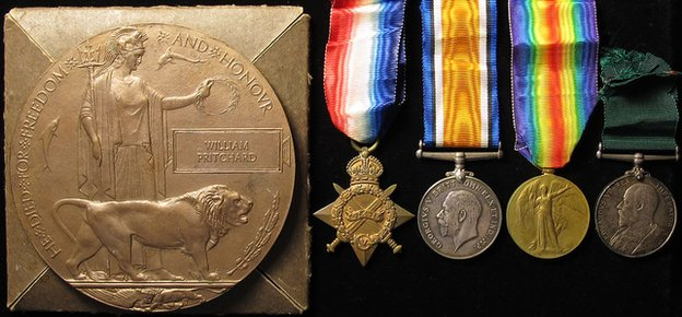 Death plaque and medals of Sgt William Pritchard