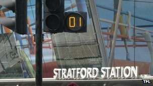 Pedestrian countdown timer outside Stratford Station