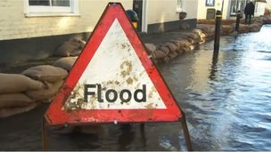 Flood sign in Hambledon in January 2014