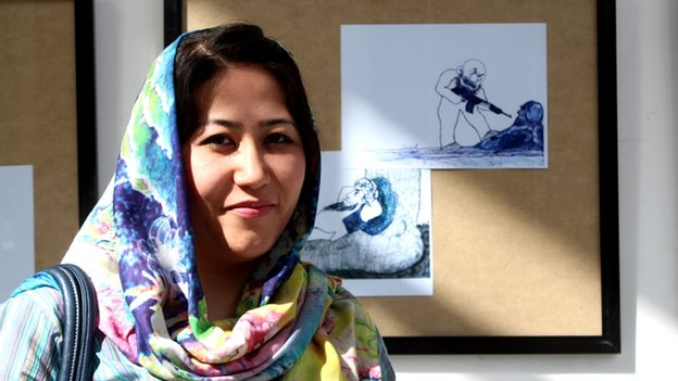 Visitor Zubaida Taheri says the cartoons offer a fresh look on life