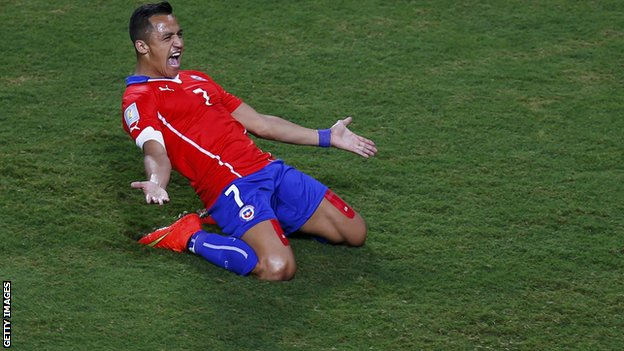 Alexis Sanchez celebrating a goal for Chile