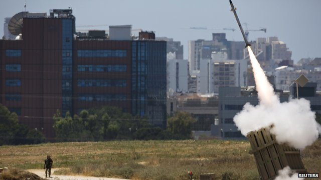 Iron Dome interceptor launches a rocket in the Israeli city of Ashdod