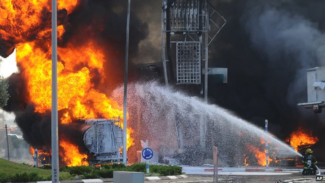 A petrol station hit by a rocket fired from Gaza in Ashdod