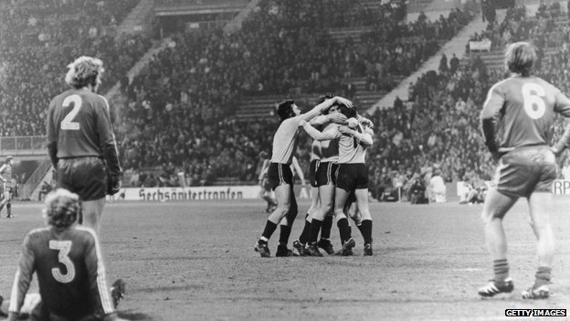 Dynamo Dresden players celebrate a goal against West German rivals Bayern Munich in 1973