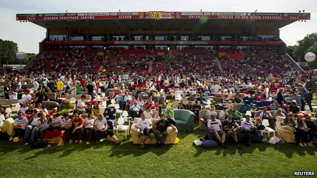 Germany fans watch the match with Portugal at the Union Berlin stadium