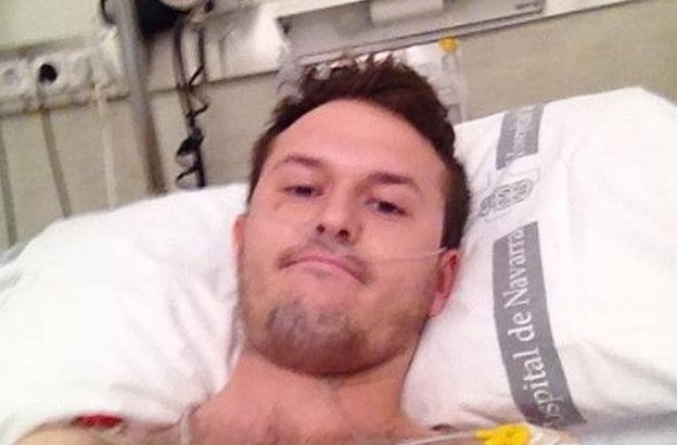 Tom Hadfield in hospital in Spain