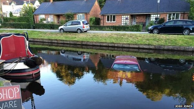 A car in Llangollen Canal