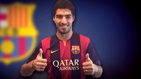 Luis Suarez pictured on the Barcelona website