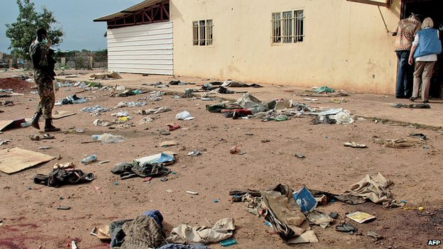 Debris outside the Kali-Ballee Mosque in the own of Bentiu