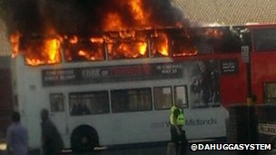 Bus fire in Sparkbrook