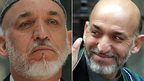 Hamid Karzai in 2011, left, and in 2002