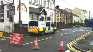 Police tape at the scene in Gowerton, Swansea