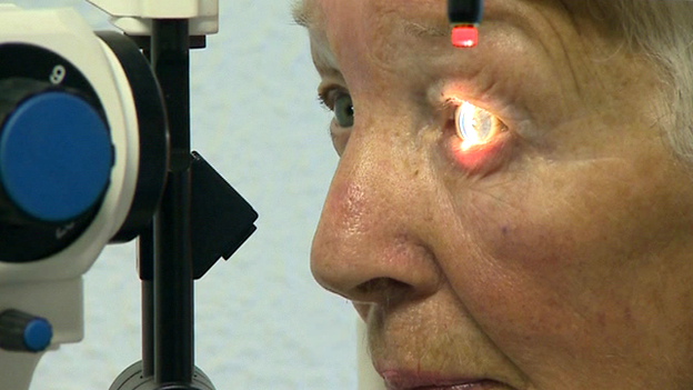 Woman having an eye test