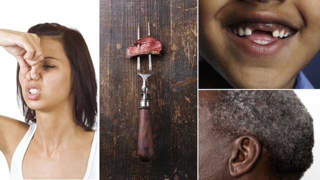 A composite image showing a woman holding her nose, meat on a fork, teeth with gaps and a man with grey hair
