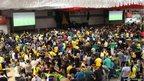 "Football fans gather at the ""mini Oktoberfest"" in Blumenau"