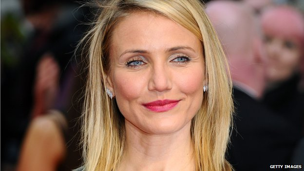 Actress Cameron Diaz smiles before a film premiere in London.