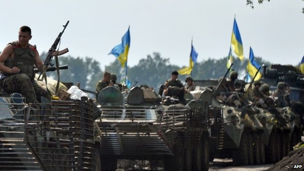 Ukrainian troops near the eastern Ukrainian city of Slavyansk (11 July 2014)