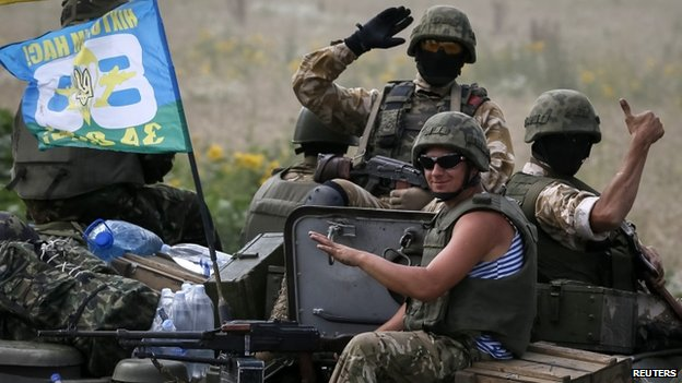 Ukrainian troops are pictured near Sloviansk  (11 July 2014)