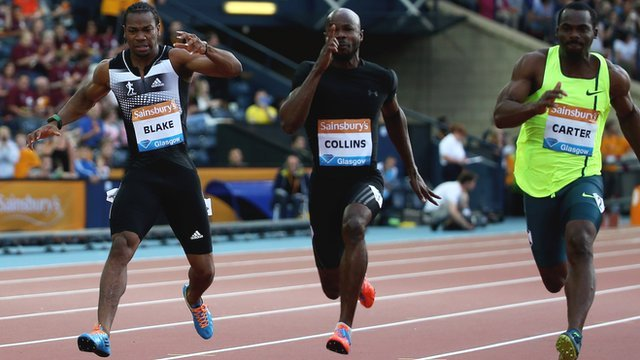 Yohan Blake pulls up injured during the Glasgow Diamond League 100m